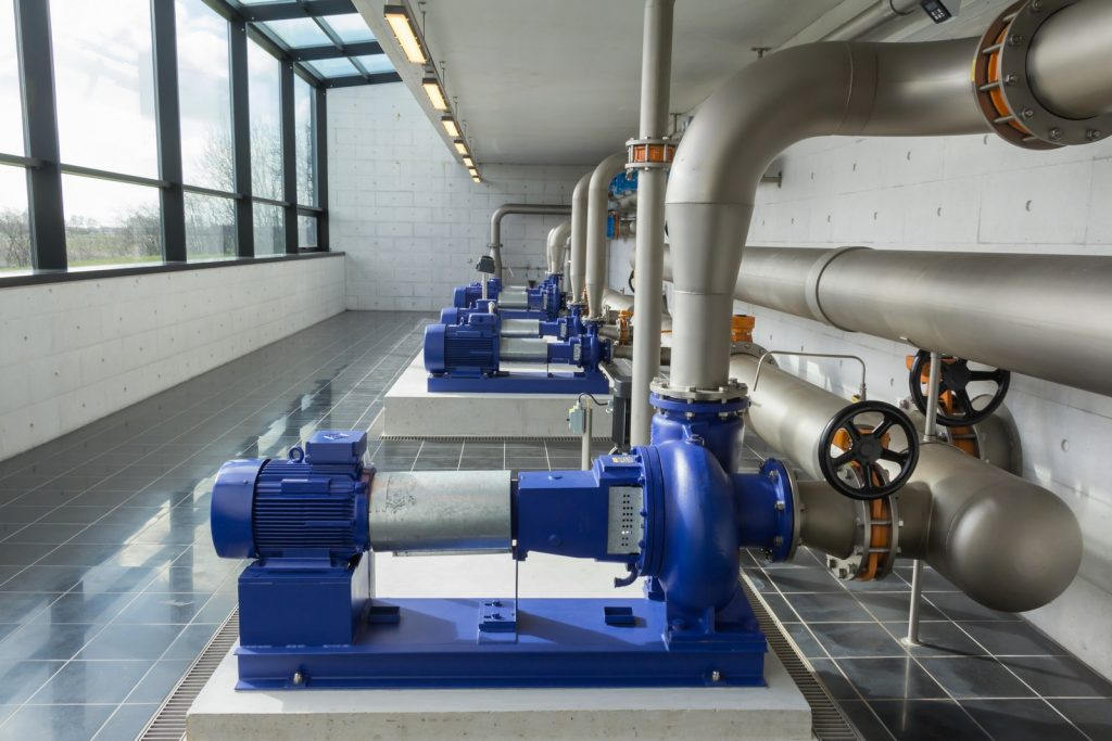 Modern water pumps in a water plant in Denmark station